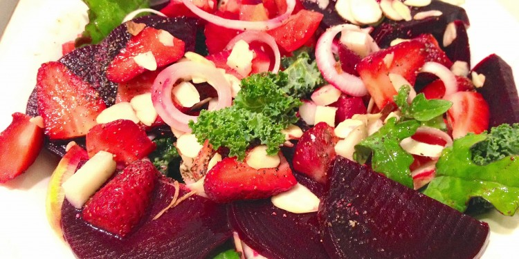 salad with beets n strawberries